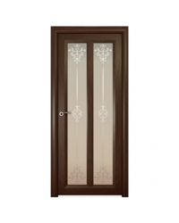 Дверь межкомнатная, Океан, Ницца ДО, Ажур белое стекло, Натуральный дуб шоколад