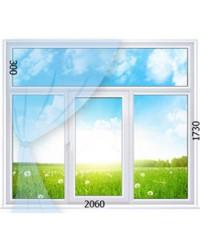 Трехстворчатое поворотно-откидное окно с одной активной створкой и фрамугой